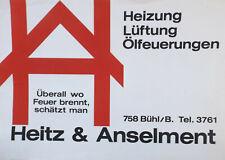 """"""" Chauffage, Ventilation, Huile-Tir - Heitz & Anselment """" Affiche Grafiker Sepp"""