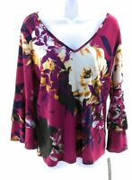 Unique Spectrum Top Womens Plus Size Maroon Floral Long Sleeve V Neck