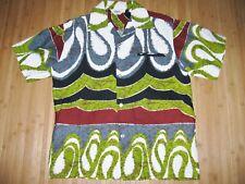 Tropicana Shirt Vintage Size Medium Cotton Barkcloth Waves and Mod Swirls