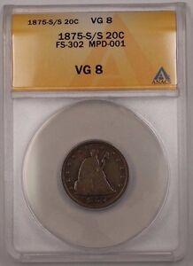 1875-S/S Silver Twenty Cent 20c Coin FS-302 MPD-001