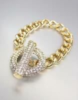 GORGEOUS GLITZY Gold Pave CZ Crystals Ring & Toggle Chain Bracelet
