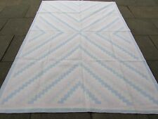 Old Traditional Hand Made Indian Dari Oriental Blue Pink Cotton Kilim 280x190cm