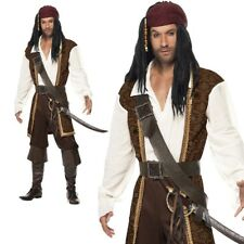 High Seas Mens Pirate Costume Adult Jack Sparrow Buccaneer Captain Fancy Dress
