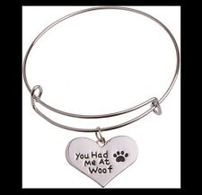 "NEW - ""YOU HAD ME AT WOOF"" HEART PAW PRINTS EXPANDABLE WIRE BANGLE BRACELET"