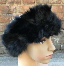 Black real genuine rabbit fur pelt ear warmer headband unisex hat