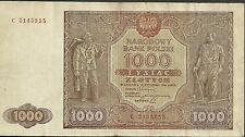 1946 poland 1000 tysiac zlotych currency narodowy bank polski paper money 122
