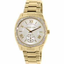 New Michael Kors Ladies Watch Bryn Gold Tone Steel Crystal Glitz MK6134 Freepost