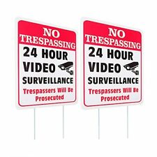 Waahome 2 Pack No Trespassing Sign With Stakes 10x14 Outdoor Video Survei