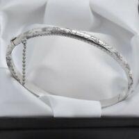 Vintage 925 Sterling Silver Engraved Design Hinged Bangle Bracelet