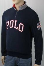 Polo Ralph Lauren Navy Blue Half Zip Fleece Jacket USA Flag NWT $148