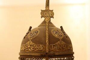 Antique Islamic warrior Armor Helmet handmade engraving gold inlay A khula-khud