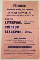 Ribble Motor Services Timetable - X61 Express Service 1970