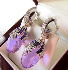 SALE ! GORGEOUS MADE OF STERLING SILVER 925  EARRINGS with AMETHYST and ENAMEL