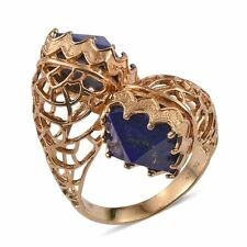 Lapis Lazuli 14K Yellow Gold Over Sterling Silver Ring Size 7 16.700 ct