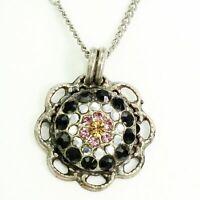 Estate MARIANA Silver Tone Swarovski Crystal Pendant Necklace 14-18 inch Signed