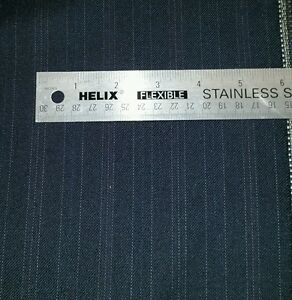 """Italian wool suit fabric Blue with white Stripes 9 Yards   58""""W   free shipping"""