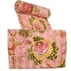 Indian+Pink+Floral+Print+Quilt+Throw+Cotton+Bedspread+Bedding+Blanket+Reversible