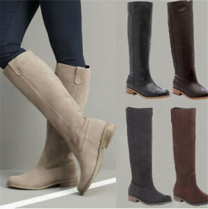 UK Womens Plain Combat Military Suede Boots Knee High Flat Heel Army Boots HOT
