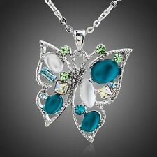 Shiny Austria Crystal Rhodium Plated Blue Green Butterfly Chain Necklace Pendant