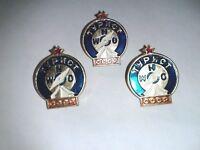 Three USSR Camping Compass Tourist Society Association Member Badge Pin