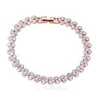 18K Rose Gold GF Made With Swarovski Element Sparking Cluster Tennis Bracelet