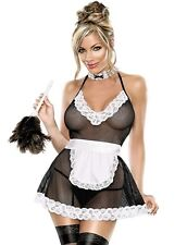 New Sexy French Maid Outfit Fancy Dress Costume Fishnet Size 14 12 10