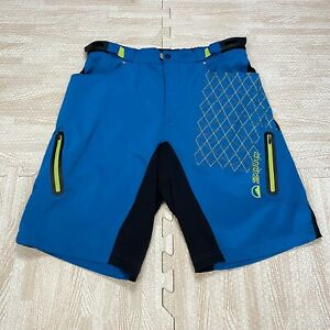 """Zoic Men's 11"""" Ether Blue And Green Cycling Shorts Size XL"""