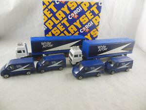 Extremely Rare Corgi Juniors No. 53848 White Arrow Playset 2x Volvo Lorry, Fords