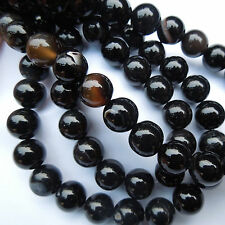 15in Black Agate Round Gemstone Beads for Jewellery Making Size (mm) 10