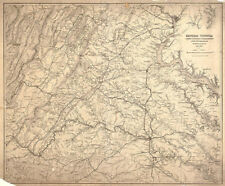 Map of Central Virginia c1864 30x24