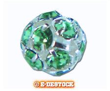 1 perle Boule strass argentée 8 mm boheme - EMERALD