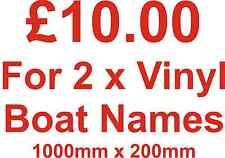 2 x Boat Name Stickers Vinyl 1000mm x 200mm