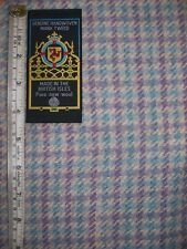 Purple Blue Check Tweed Fabric 1m x 1.5m 100% Wool