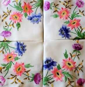 VINTAGE Tablecloth HAND EMBROIDERED Heavily Worked ANEMONES Linen STUNNING
