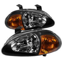 Fit Honda 93-97 Del Sol Black Headlights + Amber Corner 1pc Style Replacement