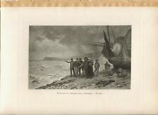 ANTIQUE STORM SHIP FISHERMAN FISHING BASKETS JESUS CHRIST OCEAN RESCUE ART PRINT