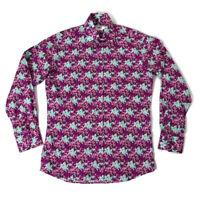 "John Flancomb TM Lewin 15.5"" Blue Purple Floral Long Sleeve Smart Mens Shirt"