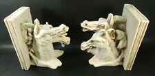 Vtg. ITALY HAND CARVED  ALABASTER FIGURAL PAIR HORSES LARGE BOOKENDS