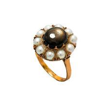 Vintage 14K Yellow Gold Brownish Black Moon Stone Pearls Ring 6.6 Gram Size 9.75