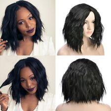 Natural Black Color Short Wavy Bob Human Hair Full Lace Wig Glueless Front Wigs