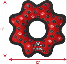 Tuffy's Ultimate Gear Ring Squeaky Plush Dog Toy, Red Paws