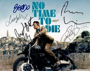 No Time To Die SIGNED 11X14 Photo Cast Photo by 7 James Bond AFTAL COA