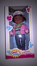 Doll Ethnic/African American/Hispanic/Indian/Dark Skin 11 inches Pink and Gray