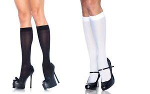 Nylon White or Black Knee High Pop Socks, School, Gothic, Punk, Fancy Dress