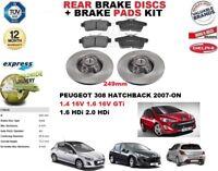 Per Peugeot 308 Hatchback 249MM Set Dischi Freni Posteriori + Kit Pastiglie