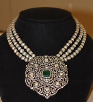 Natural Rose Cut Diamond Polki Emerald Pearl 18k Gold Sterling Silver Necklace