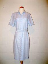 Vtg 80s Light Blue Box Plaid Retro Belted Shirt Dress - 8/10 Petite