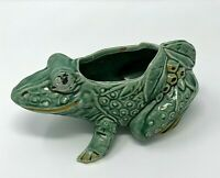 Vintage McCoy Pottery Green Frog and Berries Planter