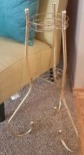 MID CENTURY MOD Retro GOLD Twisted Metal 3-TIER PLANT STAND w/Graduated Tiers!