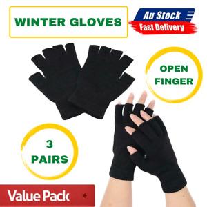 3 Pairs Winter Fingerless Gloves Open Finger Black Soft Warm KnittedGlove Unisex